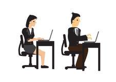 工作在他们的有他们的计算机的书桌上的商人和妇女视觉  配合或公司生活方式的概念 皇族释放例证
