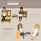 工作在共同工作的空间infographics的行家人 库存照片