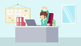 工作在办公室的女实业家 ?? 企业概念的动画片动画 平的圈动画 库存例证