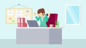 工作在办公室的女实业家 感受幸福 企业概念的动画片动画 平的圈动画 向量例证