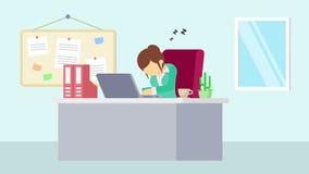 工作在办公室的女实业家 疲倦和睡眠 企业概念的动画片动画 平的圈动画 库存例证