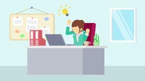 工作在办公室的女实业家 认为想法 企业概念的动画片动画 平的圈动画 向量例证