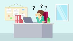 工作在办公室的女实业家 认为麻烦 企业概念的动画片动画 平的圈动画 向量例证