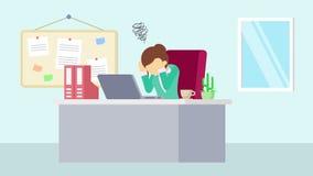 工作在办公室的女实业家 麻烦 企业概念的动画片动画 平的圈动画 向量例证