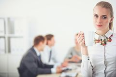 工作在办公室身分的一个少妇的画象 15个妇女年轻人 免版税库存照片