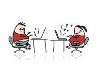 工作在办公室,您的设计的动画片的人 免版税图库摄影