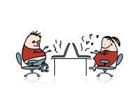 工作在办公室,您的设计的动画片的人 库存图片