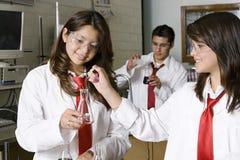 工作在化学实验室的高中学生 库存图片