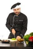 工作在厨房里的快乐的厨师 免版税库存图片