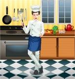 工作在厨房里的主厨 图库摄影