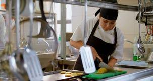工作在厨房4k里的女性厨师 股票视频