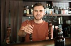 工作在啤酒轻拍的侍酒者 库存图片