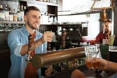 工作在啤酒轻拍的侍酒者 图库摄影