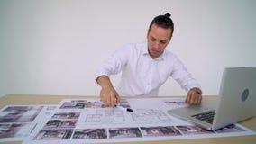 工作在图画的建筑师 影视素材