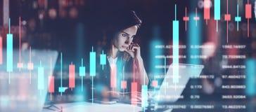 工作在夜现代办公室的年轻女人 技术价格图表和显示,红色和绿色烛台图和 图库摄影