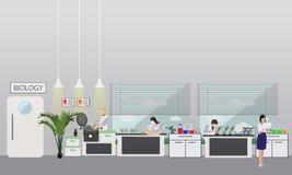 工作在实验室传染媒介例证的科学家 科学实验室内部 生物教育概念 男和女性 库存例证