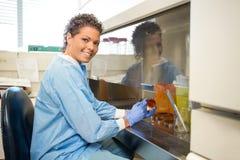 工作在实验室的女性研究员 库存图片