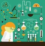 工作在实验室的科学家 免版税库存照片