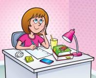 工作在家庭作业任务的女孩 免版税库存图片