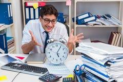 工作在有堆的办公室的商人书和纸 图库摄影