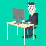 工作在有计算机的书桌的商人 皇族释放例证