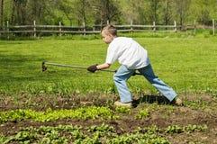 工作在有锄的庭院里的年轻男孩 图库摄影