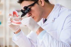 工作在牙科医院的年轻牙医 免版税库存照片
