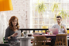 工作在现代咖啡馆的两个行家 免版税库存照片