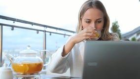 工作在现代膝上型计算机和饮用的茶的妇女在咖啡馆 股票录像