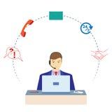 工作在电话中心的人 3d例证服务支持 免版税库存照片