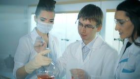 工作在研究实验室的三位科学家 股票视频