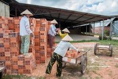工作在砖砌的越南妇女 免版税库存照片