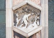 工作在秋天以后的亚当和伊芙,佛罗伦萨大教堂 免版税图库摄影