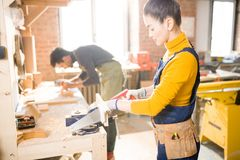 工作在细木工技术方面的木匠 图库摄影