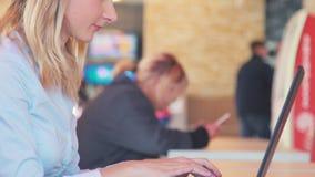 工作在膝上型计算机和饮用的咖啡的女实业家在咖啡馆 影视素材