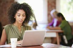 工作在膝上型计算机的妇女在当代办公室 库存图片