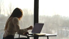 工作在膝上型计算机的美丽的女实业家在办公室 影视素材