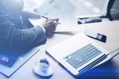 工作在膝上型计算机的晴朗的办公室的典雅的银行业务财务分析家,当坐在木桌上时 商人分析 库存图片