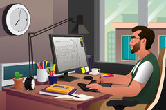 工作在计算机前面的以图例解释者 皇族释放例证