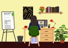 工作在计算机的年轻网设计师女孩在演播室 少女做她的家庭作业 自由职业者或雇员工作场所  向量例证