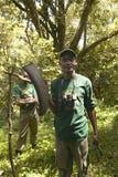 工作在诱捕的阵营的小组发现圈套夺取动物在察沃国家公园在肯尼亚,非洲 免版税库存图片