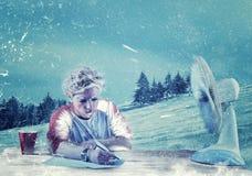 工作在雪 免版税图库摄影