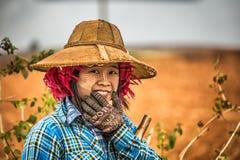 工作在领域的一位年轻女性农夫的画象 库存照片