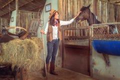 工作在马的女牛仔种田, Sakonnakhon,泰国 库存照片