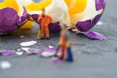 工作在鸡蛋的微型工作者人民 库存照片