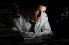 工作在黑暗的办公室 库存图片