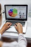工作在他的膝上型计算机的女实业家在一个现代办公室 免版税库存照片