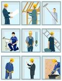 工作在建筑工地的工匠 库存图片