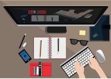 工作地点的平的设计例证概念在办公室,工作区 图库摄影