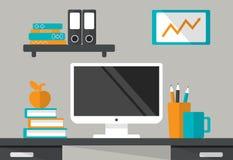 工作场所内部  有显示器的,书架,书书桌 库存例证